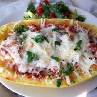 Spaghetti Squash Lasagna in a Boat