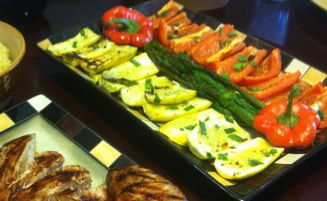 Grilled Sweet Peppers with Asparagus