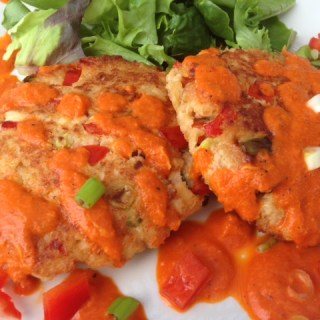 Salmon Patties with Roasted Red Pepper Sauce