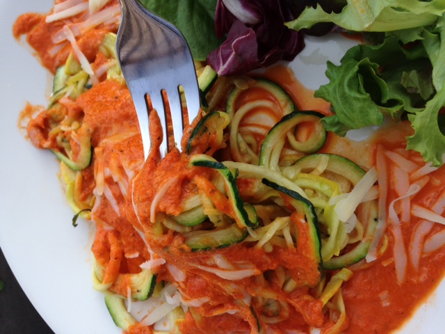 Roasted Red Pepper Sauce over Spiralized Veggies