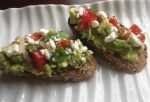 Toast with Avocado Feta and Tomatoes