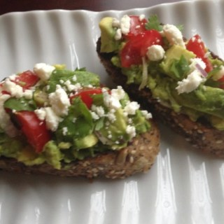 Toast with Avocado, Feta and Tomatoes