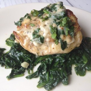 Asiago Cream Sauce over Herb Chicken with Spinach