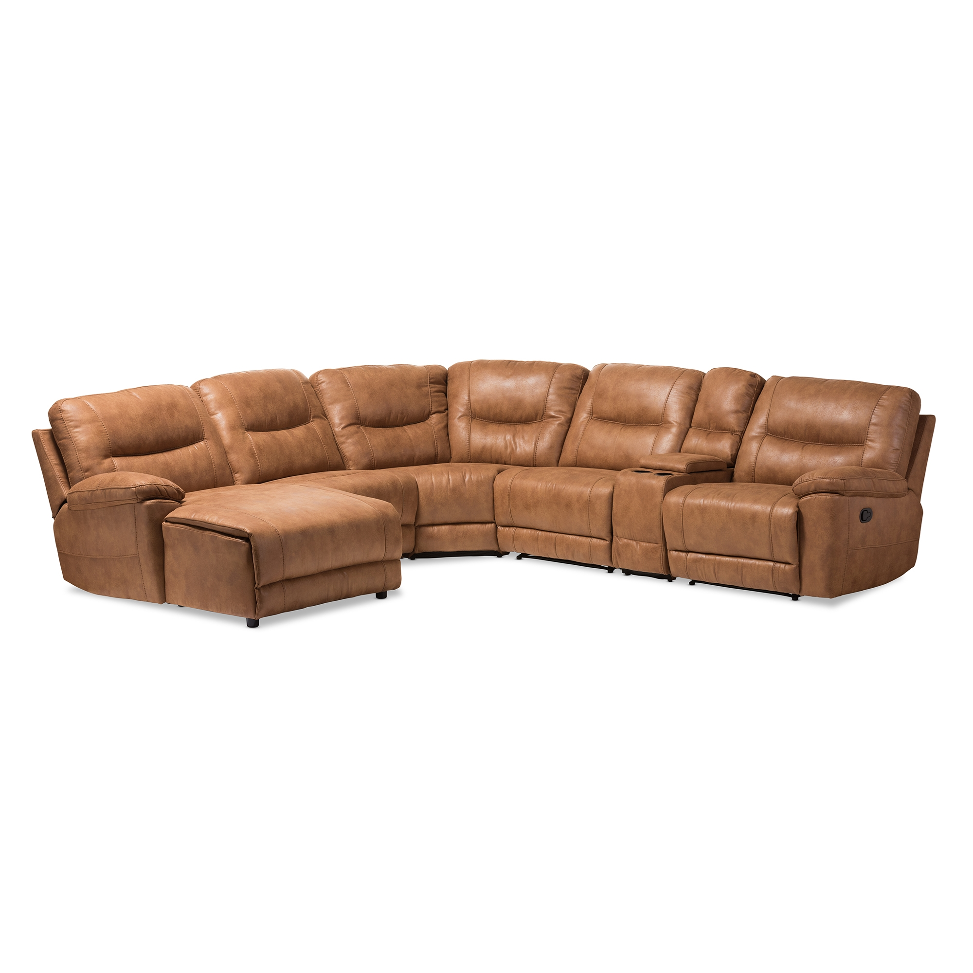 Canape Cuir Kalina Light Brown Leather Sofa Set