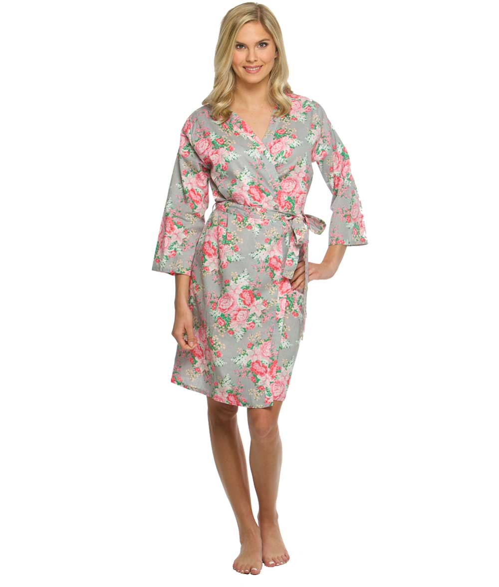 cotton floral robe peony print