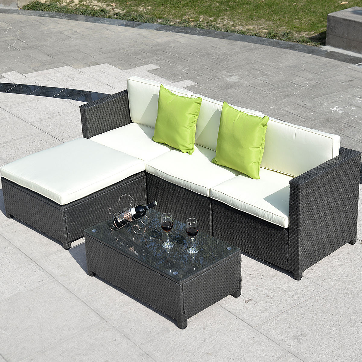 Rattan Sofa Set Reviews Outdoor Patio Wicker Sofa Set 5pc Pe Rattan
