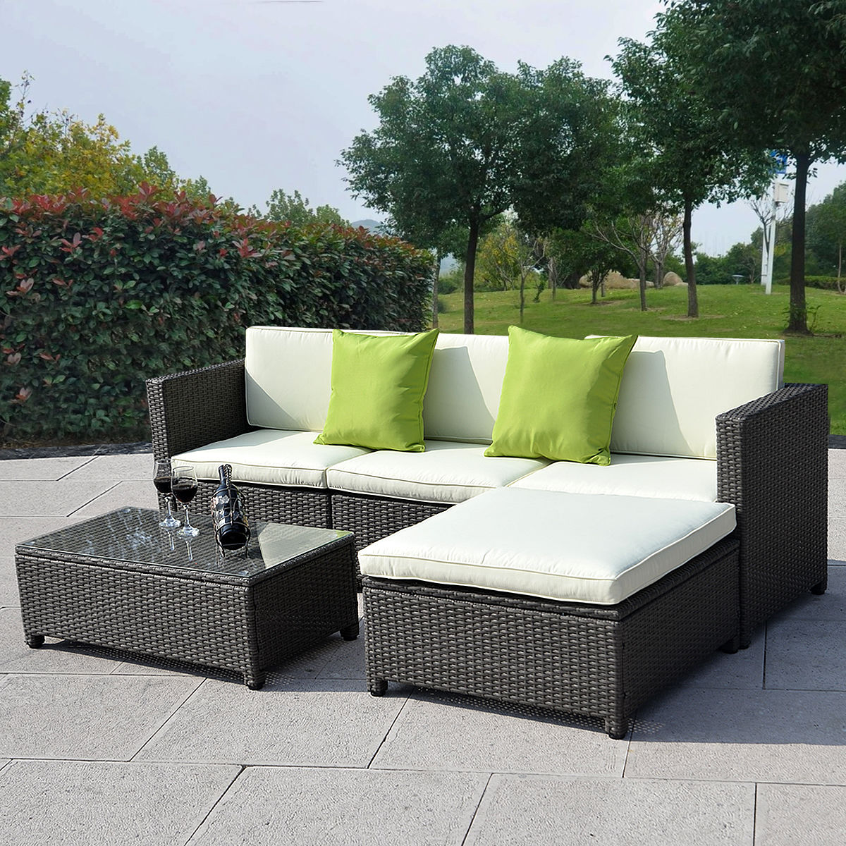 Rattan Sofa Corner Set Outdoor Patio Wicker Sofa Set 5pc Pe Rattan