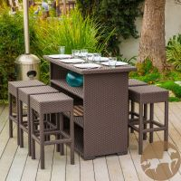 7 Piece Brown Wicker Bar Patio Set w/ Bar Stools