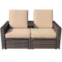 3 Piece Outdoor Wicker Patio Love Seat Lounge Chair Set