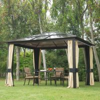 12 x 10 Hardtop Gazebo Outdoor Patio Canopy with Mesh and ...
