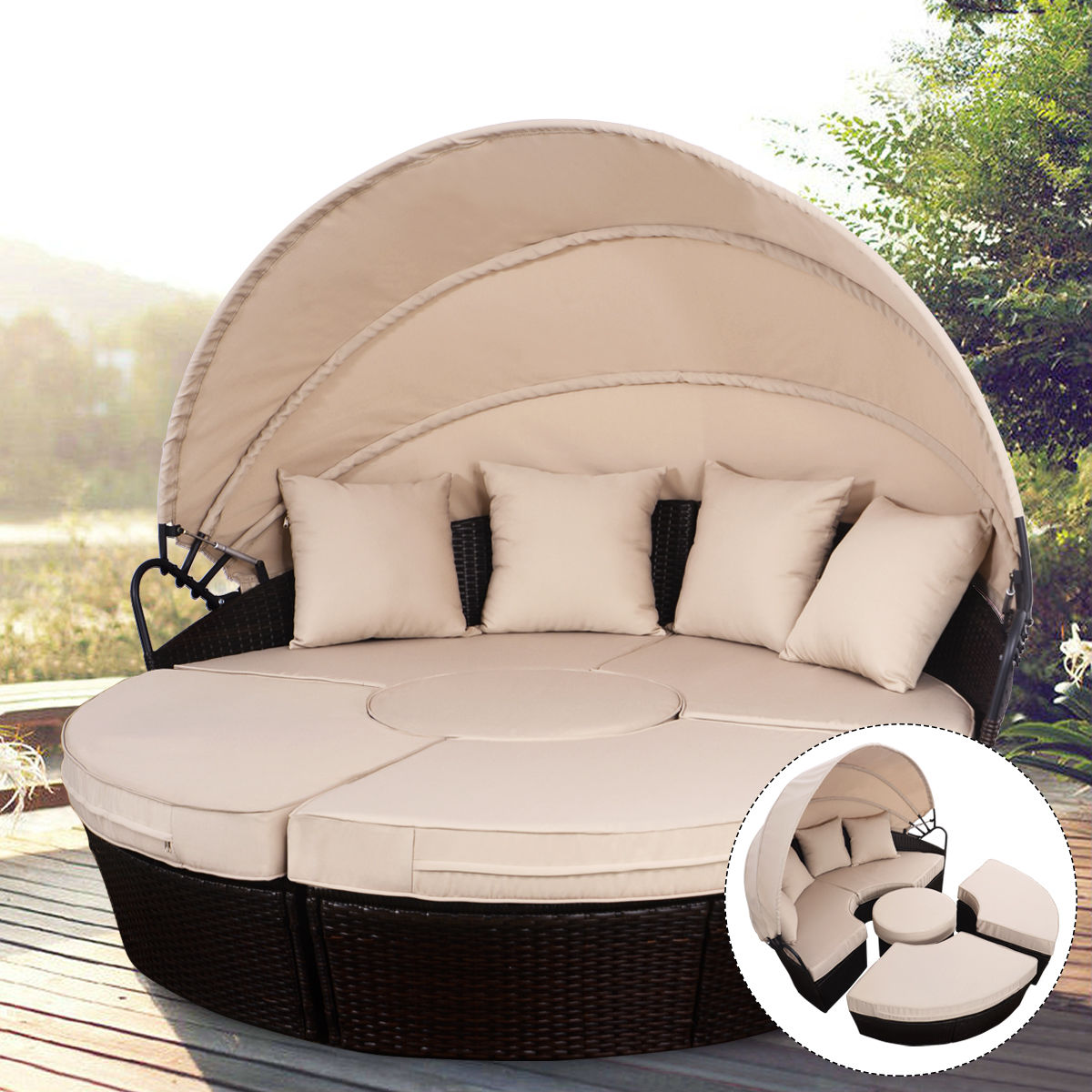 Rattan Sofa Chair Set Outdoor Daybed Patio Sofa Furniture Brown