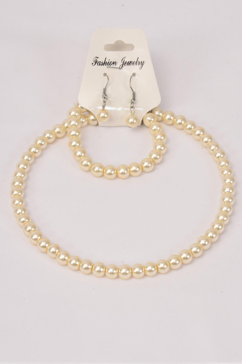 Wholesale Western Jewelry Supplies Necklace Sets Choker 16 Inch 10 Mm Cream Glass Pearl