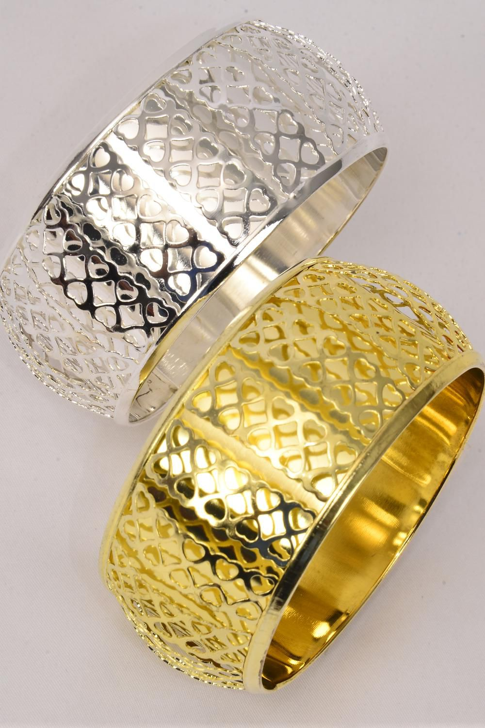 Wholesale Western Jewelry Supplies Bangle Metal Heart Patterns Gold Silver Mix Dz Size 2 75