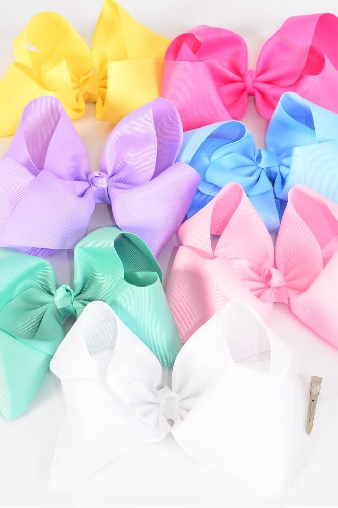 Wholesale Western Jewelry Supplies Hair Bow Cheer Type Bow Pastel Alligator Clip Grosgrain
