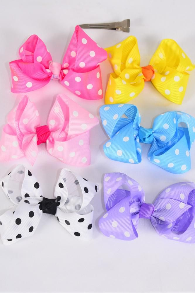 Wholesale Western Jewelry Supplies Hair Bow Grosgrain Bow Tie Large Polka Dots Pastel Dz