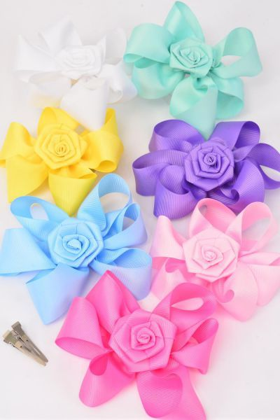 Wholesale Western Jewelry Supplies Hair Bow Extra Jumbo Rose Pastel Grosgrain Bow Tie Dz Same