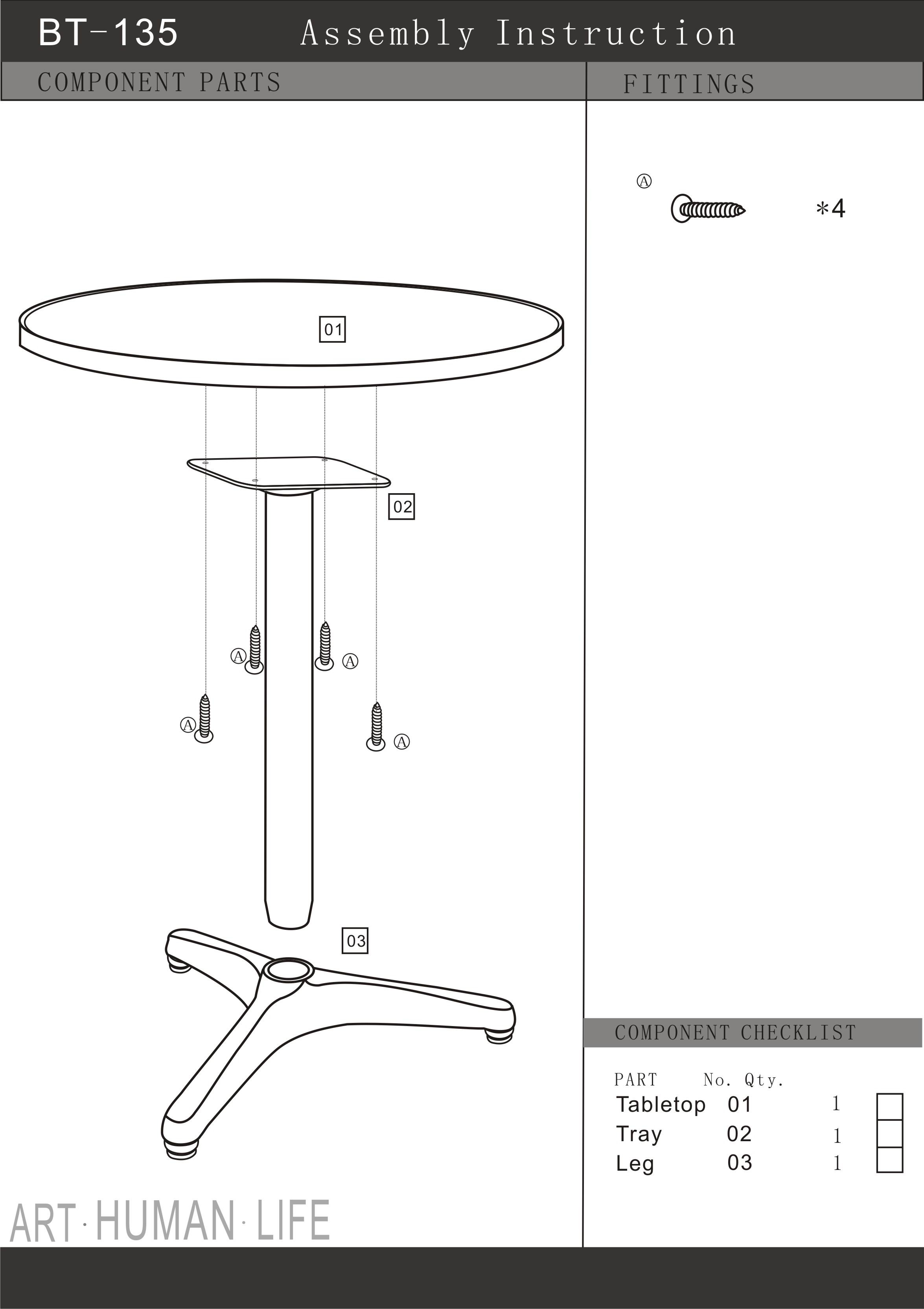 Dimension Table Bar Assembly Instructions