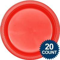 Red Plastic Plates, 10 (20 count) - Cheap Solid Tableware ...