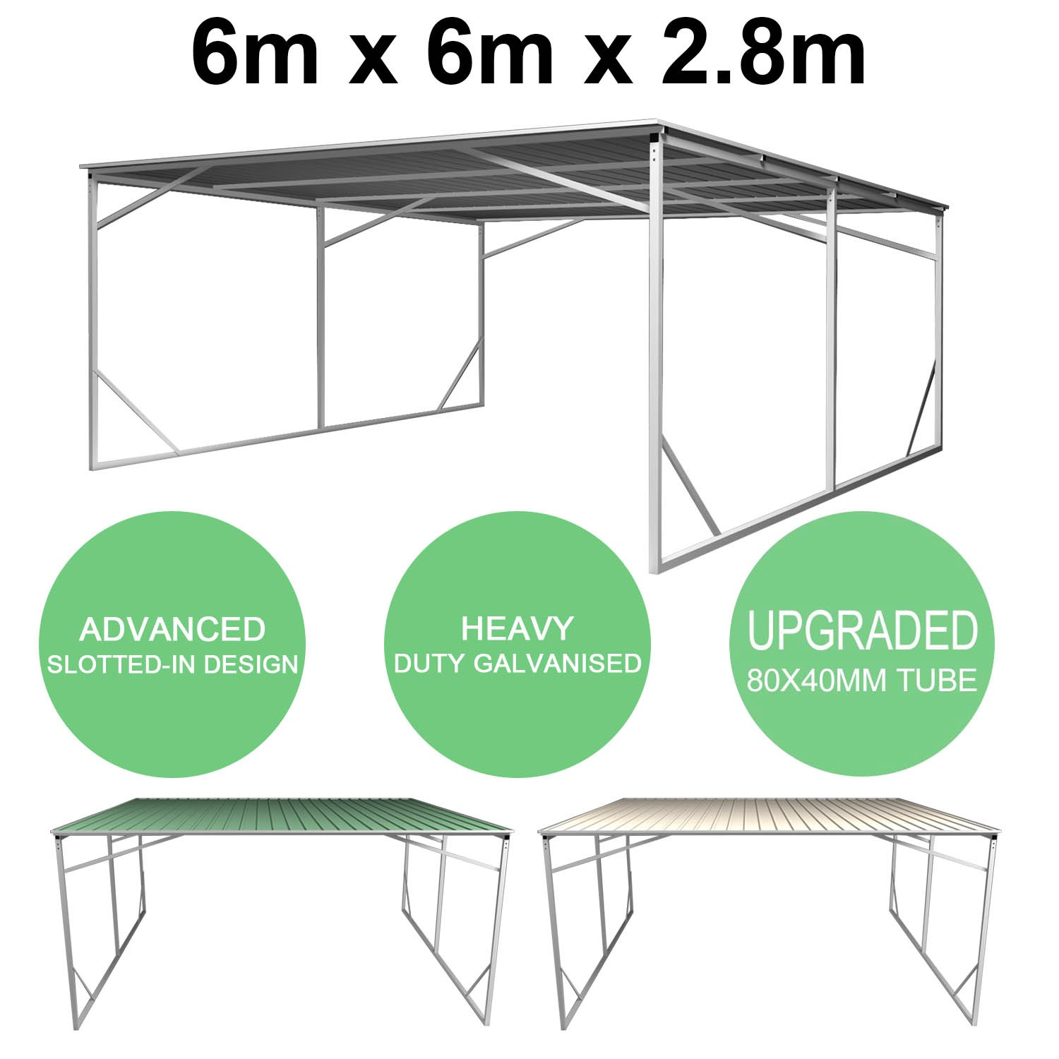 Zeichnung Carport Carport 6m X 6m Vehicle Shelter Skillion Steel Double Carport Plus 80x40mm Tube