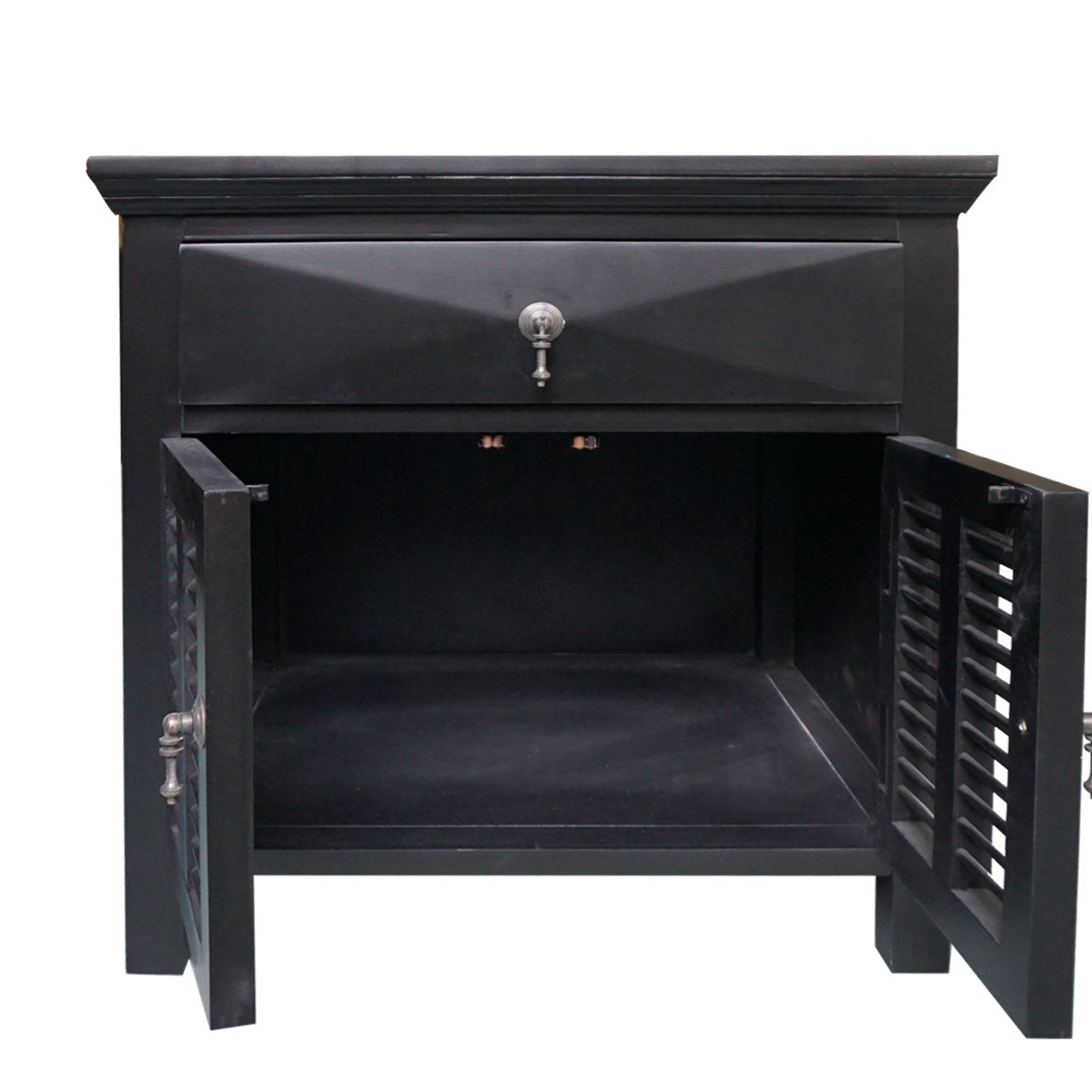 Provincial Bedside Tables Hamptons Louvre Black Bedside Table 1 Drawer With Door