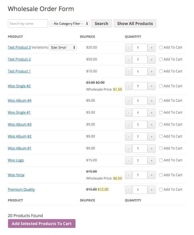 WooCommerce Order Form For Wholesale - Wholesale Suite - order form layout