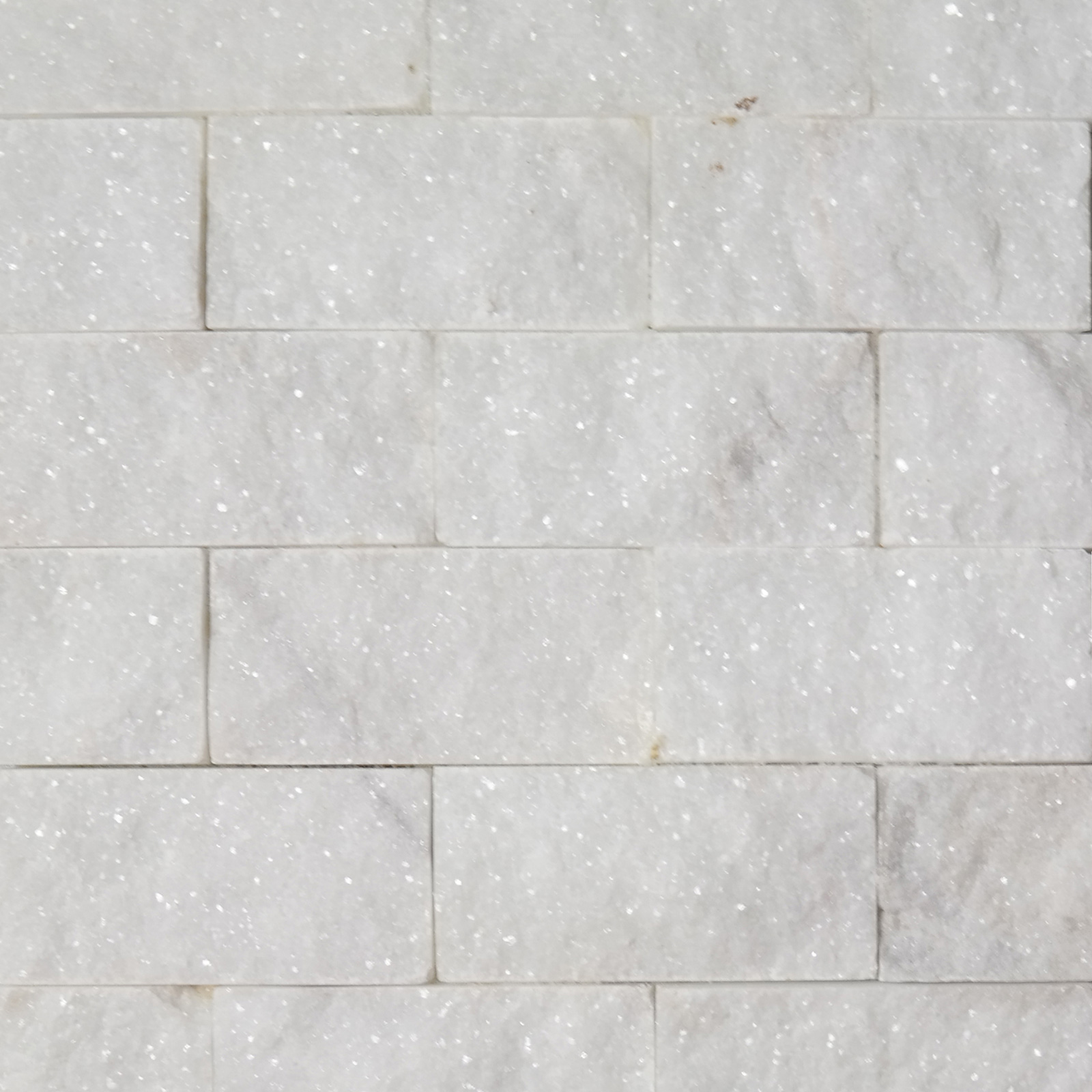 Split Wit 2 X 4 Split Face Mosaic Tile White Marble Honed
