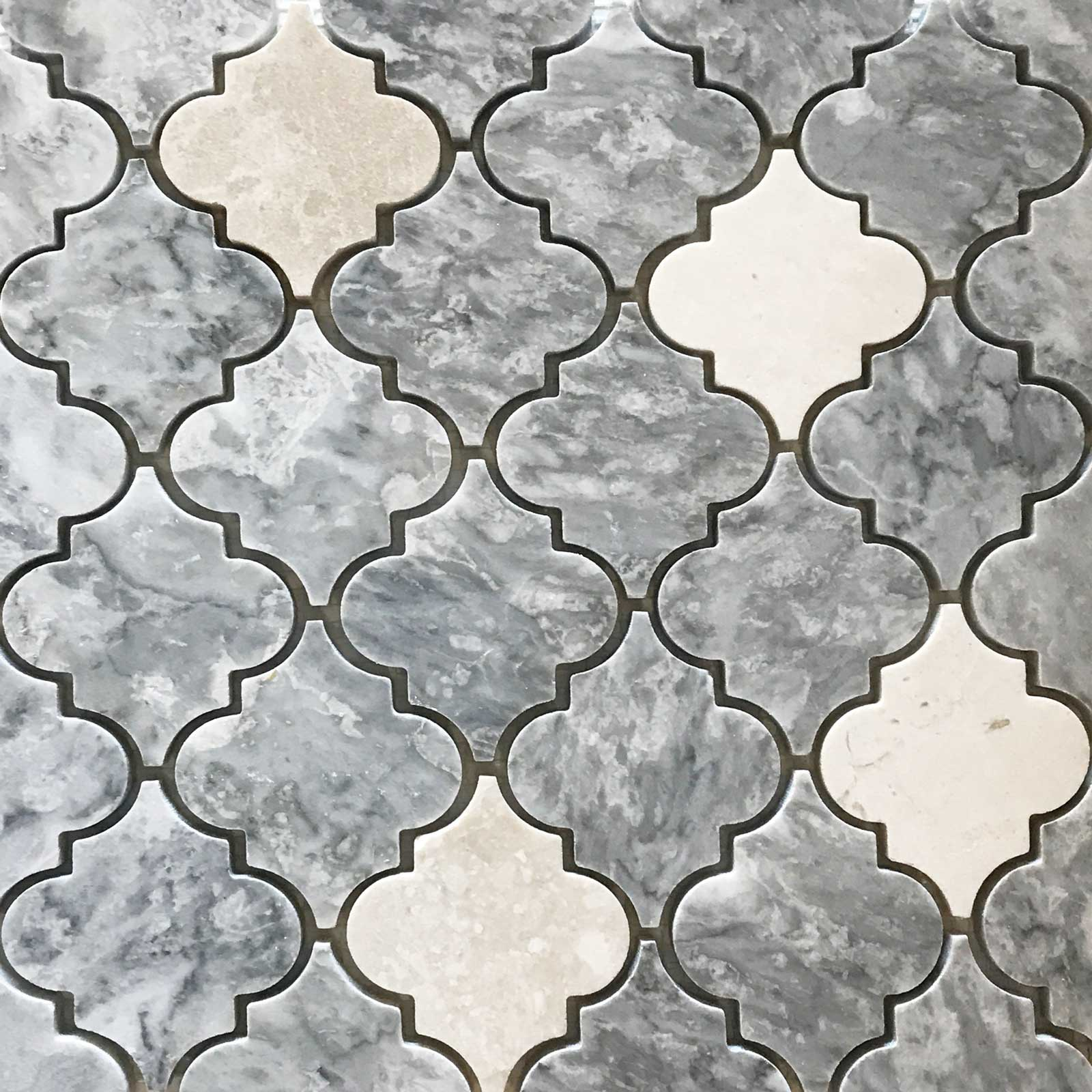 Arabesque Marble Tile Lantern Arabesque Mosaic Tile Light Grey Botticino Marble