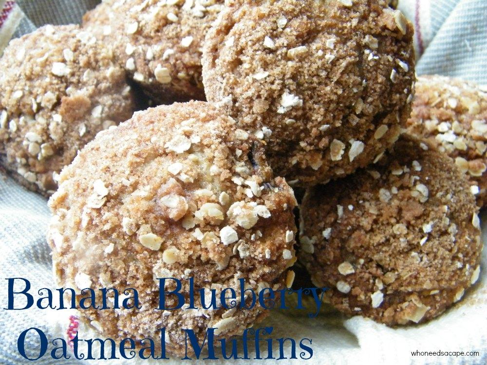 Banana Blueberry Oatmeal Muffins - Who Needs A Cape?