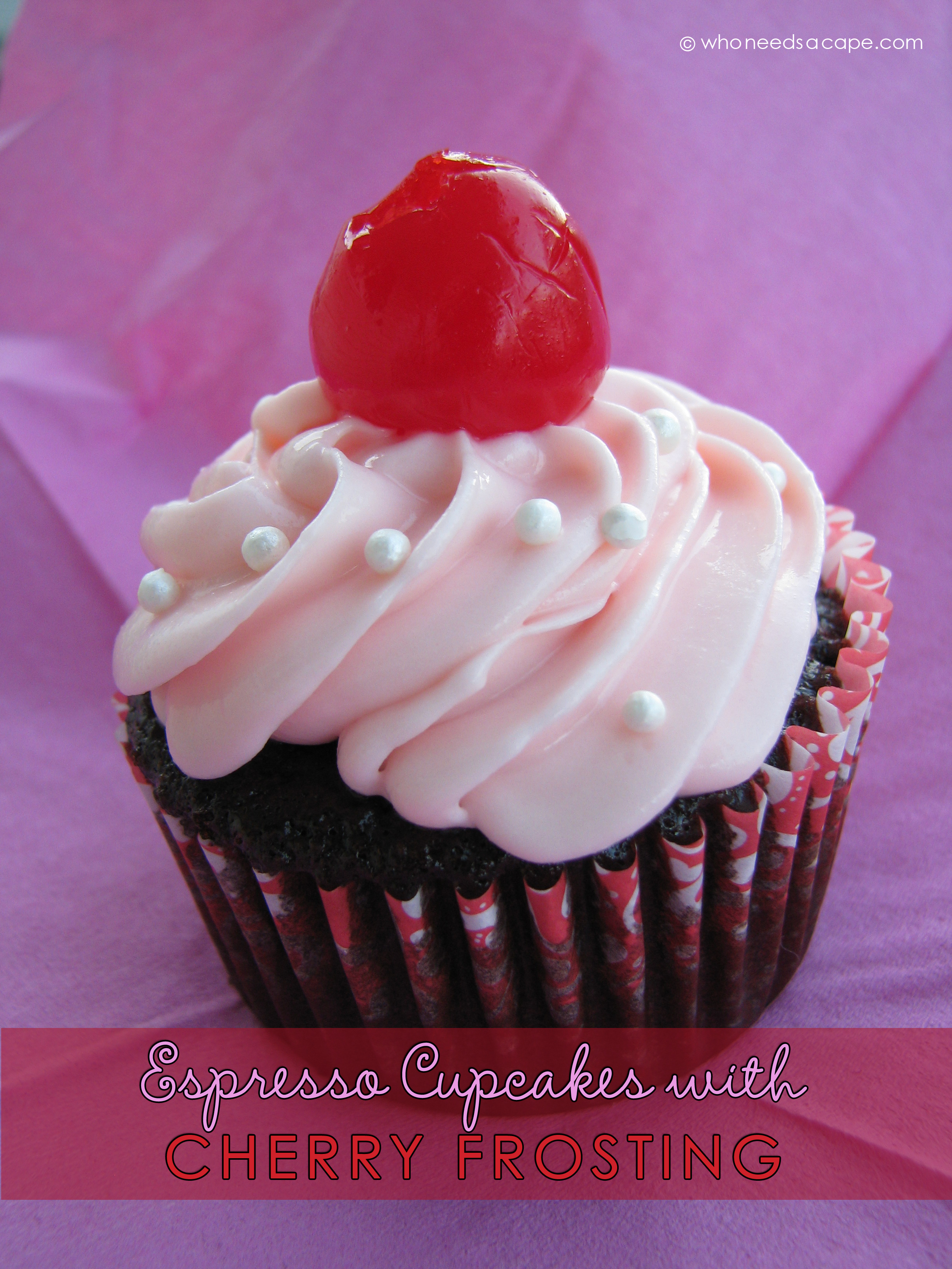 Espresso Cupcakes with Cherry Frosting