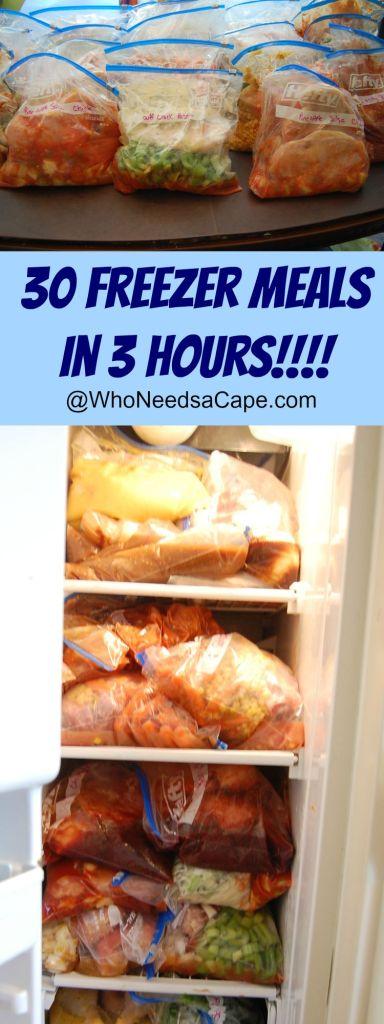 30 Freezer Meals in 3 Hours