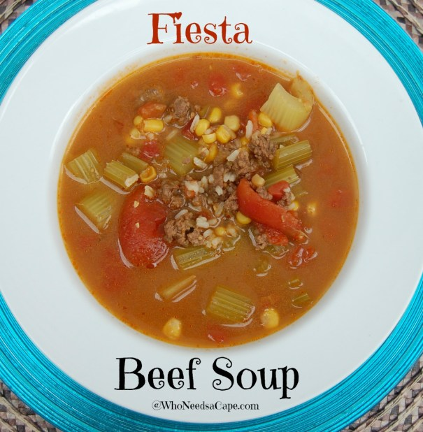 Fiesta Beef Soup is perfect for this fall and winter! The spicy ...