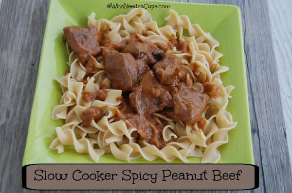 Slow Cooker Spicy Peanut Beef - Who Needs A Cape?