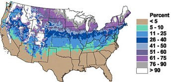 odds of white christmas in US