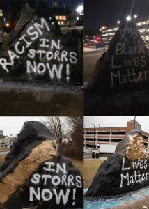 "The words ""racism"" and ""black"" were spray painted over only hours after the messages ""Racism in Storrs Now"" and ""Black Lives Matter"" were originally written. (Photos courtesy Residents for Social and Justice and Ryan King)"