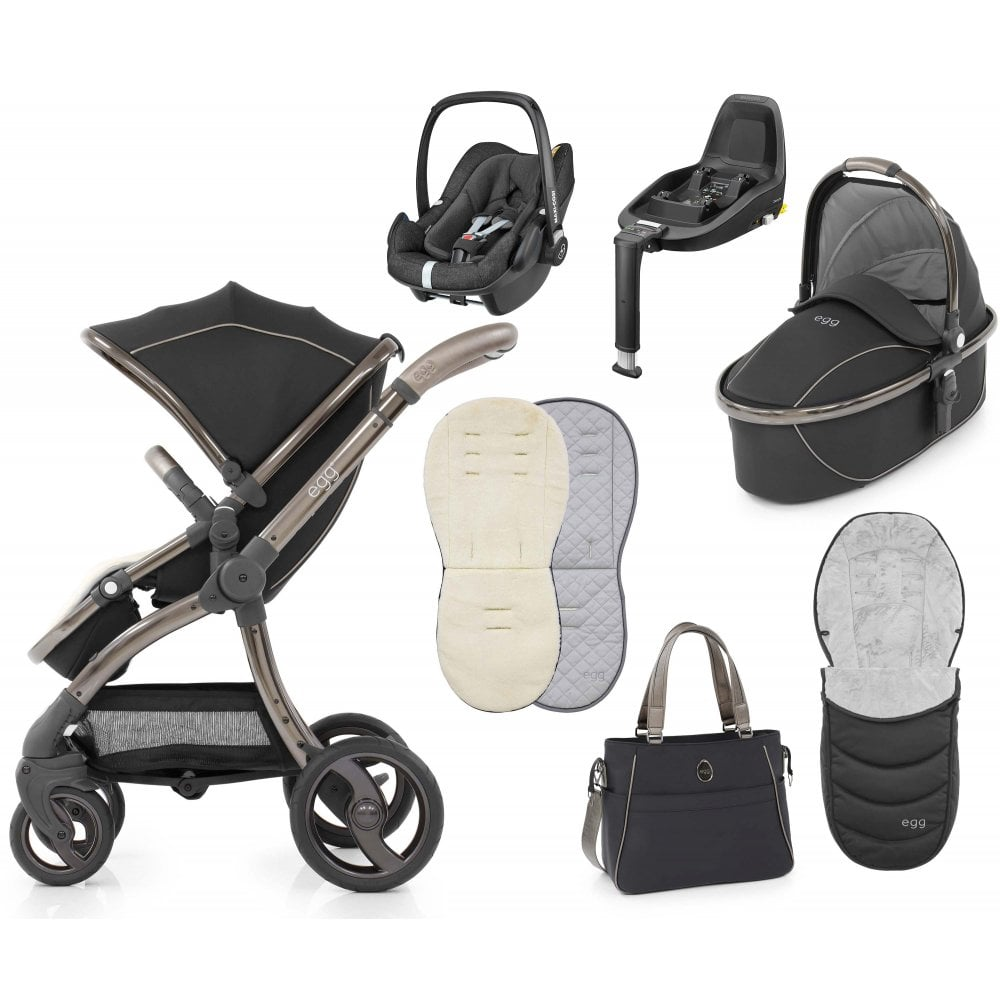Egg Pram Gunmetal Stroller Luxury Bundle Shadow Black Special Edition