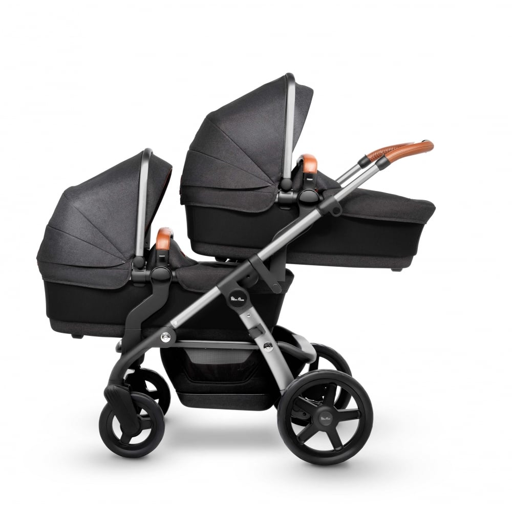 Double Pram Stokke Silver Cross Wave Twin Pram Granite From W H Watts Pram Shop