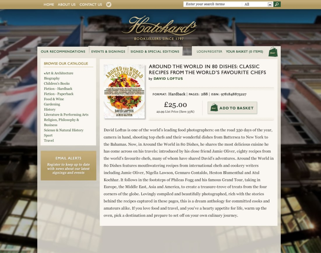 Hatchards display page screen shot