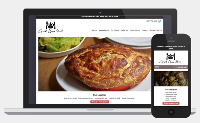 Great Queen Street Restaurant website