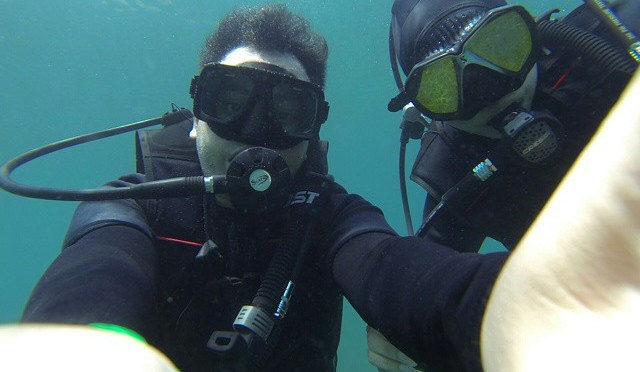 Two things you need underwater. 1. Air. 2. Buddy. #Diving