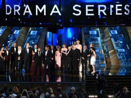 The cast of 'Game of Thrones' accepts outstanding drama series during the 67th Emmy Awards. (Photo: Robert Hanashiro, USA TODAY)