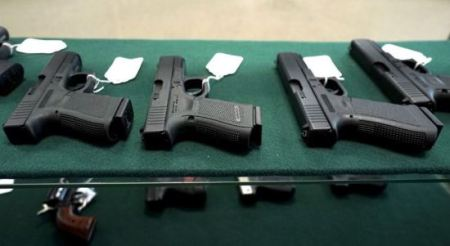 A selection of Glock pistols are seen for sale at the Pony Express Firearms shop in Parker, Colorado. (Reuters)