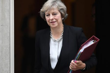 LONDON, ENGLAND – SEPTEMBER 07: British Prime Minister Theresa May leaves number 10, Downing Street for Prime Minister's Questions in the House of Commons, on September 7, 2016 in London, England. This will be the Prime Minister's first PMQ session since returning from the G20 summit in China. (Photo by Leon Neal/Getty Images)