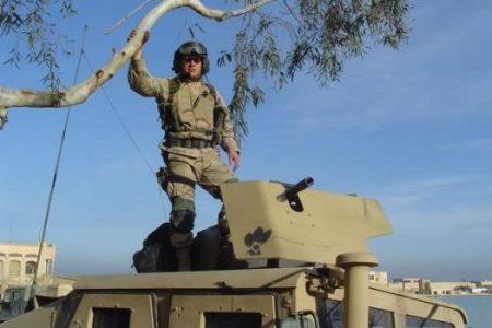 Capt. Christopher Van Meter in Iraq. Now a teacher in Modesto, Calif., he is repaying $46,000. (Credit via Christopher Van Meter)