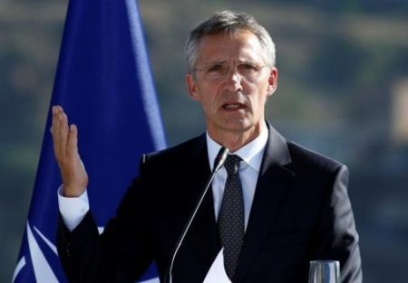 NATO Secretary-General Stoltenberg speaks during a news conference in Tbilisi (Thomson Reuters)