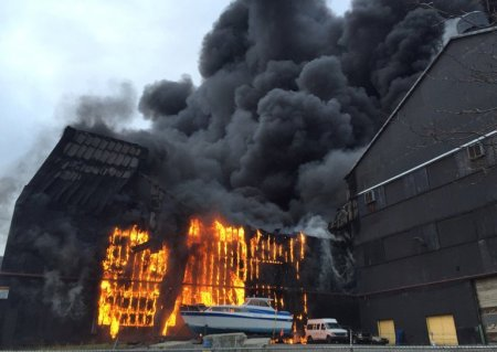 A fire at the former Bethlehem Steel factory in Lackawanna, N.Y., on Wednesday. (PHOTO CREDIT: Barbara O'Brien/Buffalo News)
