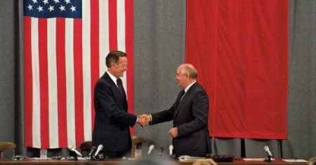 George H. W. Bush and Mikhail Gorbachev in Moscow, July 1991. (Rick Wilking/Reuters)