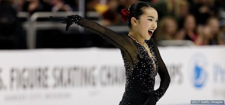 KANSAS CITY, MO - JANUARY 21:  Karen Chen competes in the Championship Ladies Free Skate during the 2017 U.S. Figure Skating Championships at the Sprint Center on January 21, 2017 in Kansas City, Missouri.  Chen placed first and won the gold medal and became the 2017 US Ladies Champion.  (Photo by Jamie Squire/Getty Images)