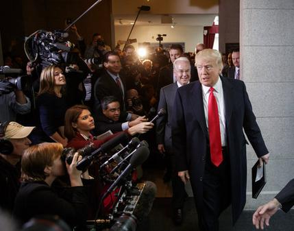 President Donald Trump and Health and Human Services Secretary Tom Price on Capitol Hill in Washington, Tuesday, March 21, 2017, to rally support for the Republican health care overhaul by taking his case directly to GOP lawmakers. (AP Photo/J. Scott Applewhite)