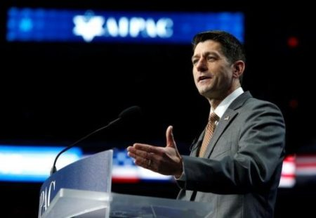 Speaker of the House Paul Ryan (R-WI) speaks to the American Israel Public Affairs Committee (AIPAC) policy conference in Washington, U.S., March 27, 2017. REUTERS/Joshua Roberts