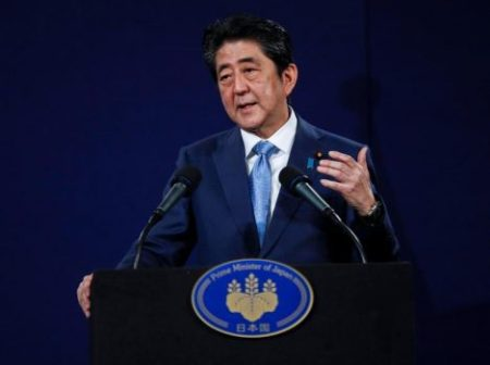 Japan's Prime Minister Shinzo Abe speaks during a news conference at a hotel in London, Britain April 29, 2017. REUTERS/Peter Nicholls